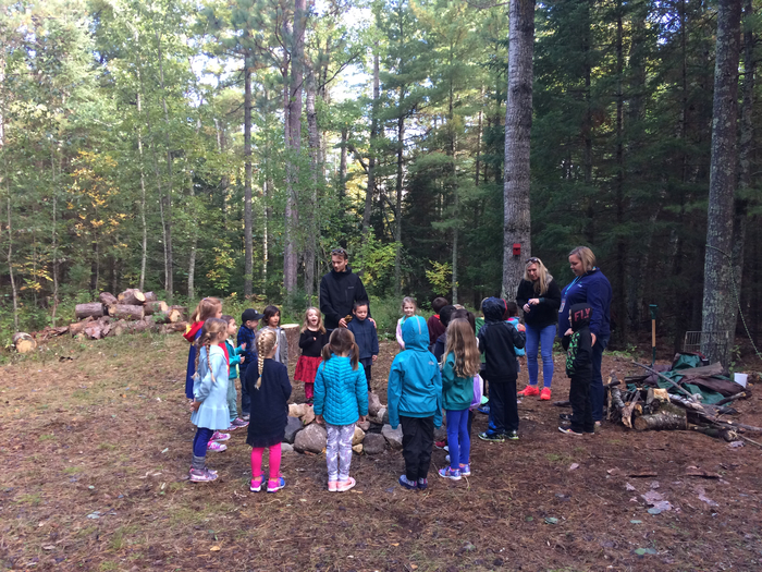 Kindercrew learning about tinder, kindling, and fuel